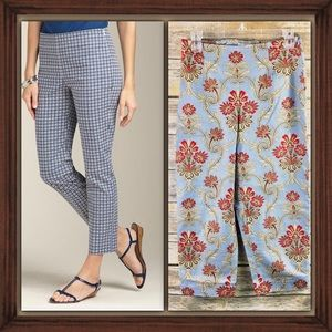 Talbots Petites Exquisite Blue Design Crop Pants